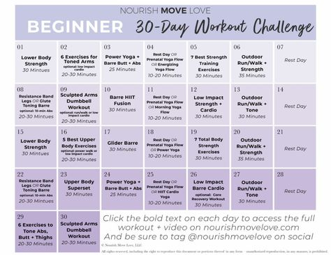Beginner Workout Plan + 30-Day Workout Calendar