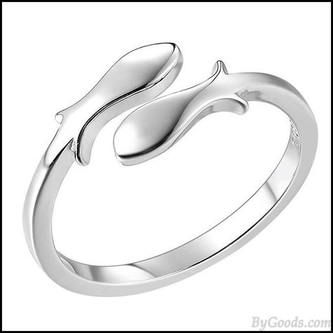 Constellation Pisces Silver Fishes Finishing Polish Open Ring #ring #fish #silver