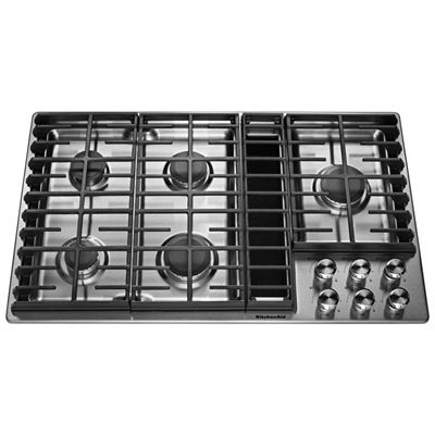 Kitchenaid Cooktop Kcgd506gss 5 Burner Gas With Downdraft Exhaust Stainless Steel Common 36 In Actu Downdraft Cooktop Gas Cooktop Stainless Steel Cooktop