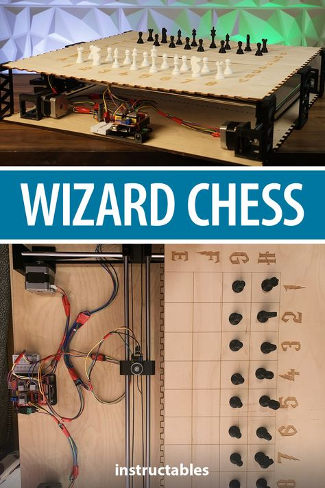 shahdivyank designed this chess setup to work like JK Rowling's Wizard Chess where the Arduino makes the pieces move on their own. #Instructables #electronics #technology #STEM #lasercut