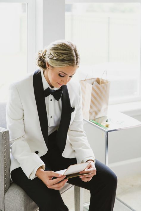 Getting ready portion of lesbian wedding day. Bride is in a white coat with black lapel and black bow tie. Black Suit Wedding, Wedding Tux, Lgbt Wedding, Wedding Attire, Dream Wedding, Wedding Suits For Women, Wedding Ideas, Wedding Menu, Gold Wedding