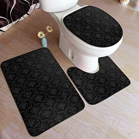 Ding Black Elegant Ornaments Texture Soft Comfort Bathroom Rugs 3 Piece Set Flannel Non Slip Absorbent Bath Mat Toilet Sea In 2020 Bathroom Rugs Rugs Toilet Seat Cover