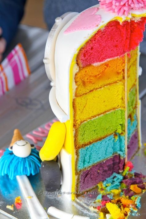Awesome Minions Birthday Cake with Rainbow Layers...