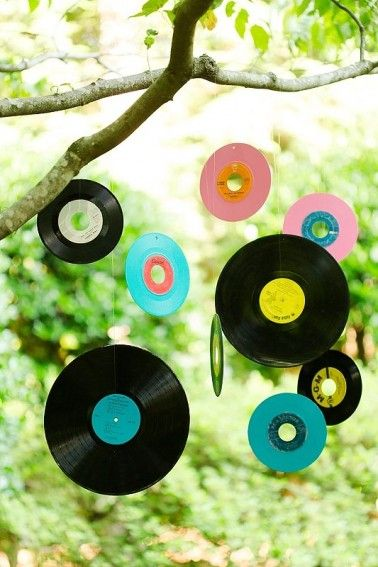 Hang your favorite records over your reception tables for a cool piece of decor!