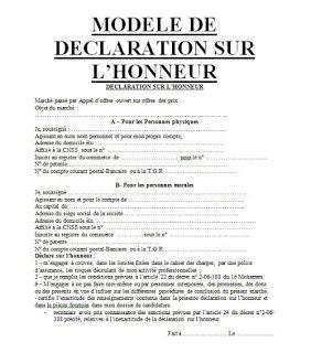 Exemples D Attestations Sur L Honneur Pour Soumission En Marches Publiques Modele De Planning Modele De Contrat Attestation