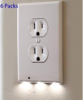 6 Pack Outlet Wall Plate With Led Night Lights No Batteries Or Wires Installs In Seconds Duplex White 6 Pa Led Night Light Plates On Wall Night Light