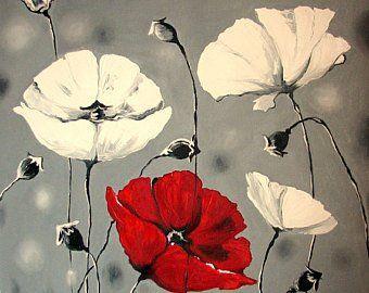 Grosse Malerei Abstrakt Rote Mohnblumen Ol Auf Leinwand Blumen Abstrakte Malerei Abstrakt Und Malerei