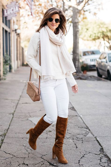 winter white outfit, brighton keller wearing white jeans and cream sweater monochromatic outfit