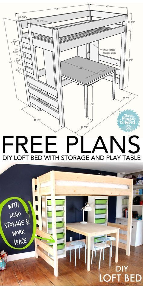 How To Build A Diy Loft Bed With Play Table And Ikea Trofast Storage Free Plans And Tutorial Diybedwithsto Diy Loft Bed Loft Bed Plans Ikea Trofast Storage