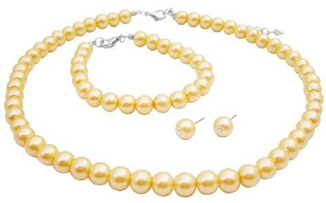 Bride's statement jewelry - yellow pearls.