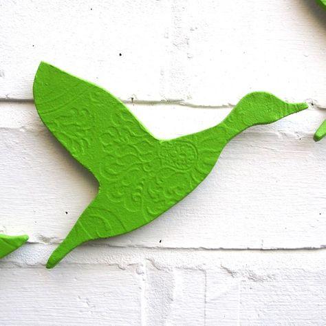Anatre di volo tre arte ceramica parete impostare parete ...