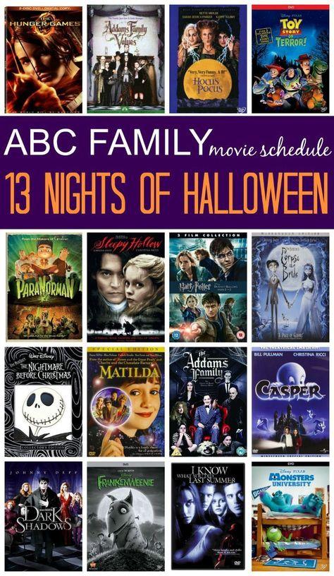 Horario Halloween  2020 Horario de películas de ABC Family 13 Nights of Halloween 2015 en