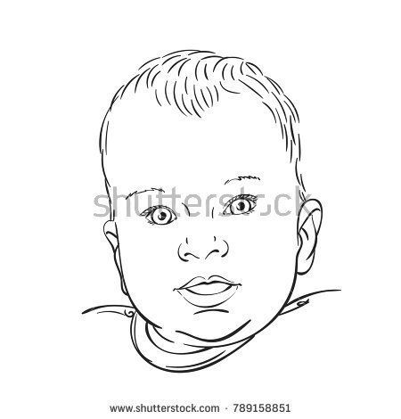 Photo of Sketch Head Ten Month Old Baby Stock Vector (Royalty Free) 789158851