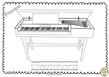 Keyboard Musical Instrument Trace And Color Pages Keyboard