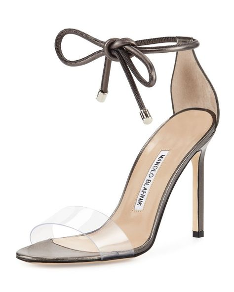 58506ab9806 Manolo Blahnik - Estro Leather   PVC Ankle-Wrap Sandal