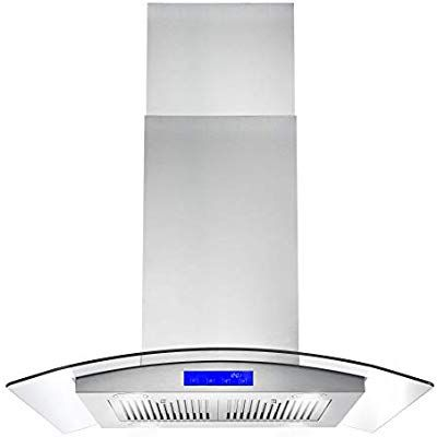 Amazon Com Cosmo Cos 668ics750 30 In Island Range Hood 900 Cfm Ceiling Mount Chimney Style Over Stove Vent With Lig In 2020 Range Hood Ceiling Exhaust Fan Vent Light