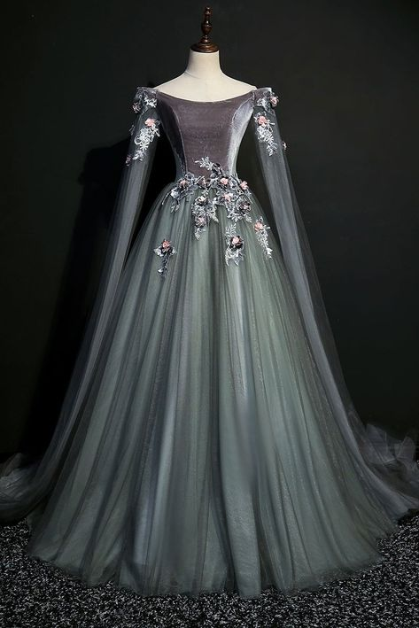Green gray tulle long sleeve a line evening dress, long velvet prom dress Green Gray Tulle Long Sleeve Prom Dress, A Line Evening Dress, Long Velvet Prom Dress de bal longues Prom Dresses Long With Sleeves, Cheap Prom Dresses, Dress Long, Dress Prom, Long Dresses, Maxi Dresses, Long Sleeve Gown, Ball Gown Dresses, Dresses For Balls