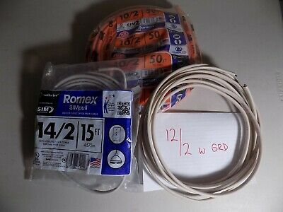 50-Ft Roll 12-3 AWG NM-B Gauge Indoor Electrical Copper Wire Ground Romex Cable
