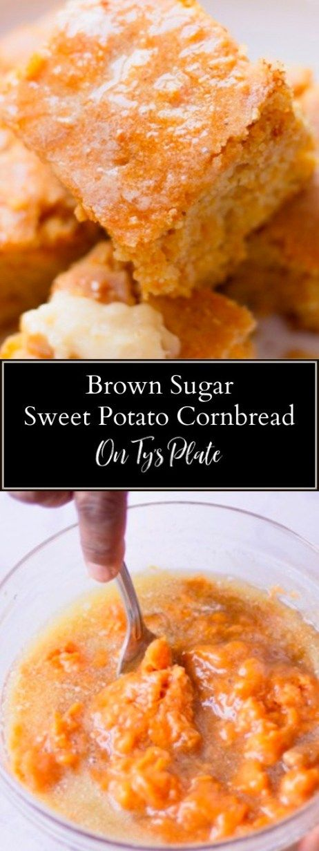 Brown sugar sweet potato cornbread is worthy of any southern plate. It's tende… Brown sugar sweet potato cornbread is worthy of any southern plate. It's tender with the perfect amount of sweet. Spread on some maple butter and it's pure bliss. Fall Recipes, Holiday Recipes, Thanksgiving Sweet Potato Recipes, Holiday Meals, Brown Sugar Sweet Potatoes, Sweet Potato Butter Recipe, Sweet Potato Dessert, Sweet Potato Cornbread, Sweet Cornbread Recipes