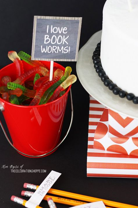 Back To School Party + Free Party Printables   Kim Byers, TheCelebrationShoppe.com #bookworm #backtoschool