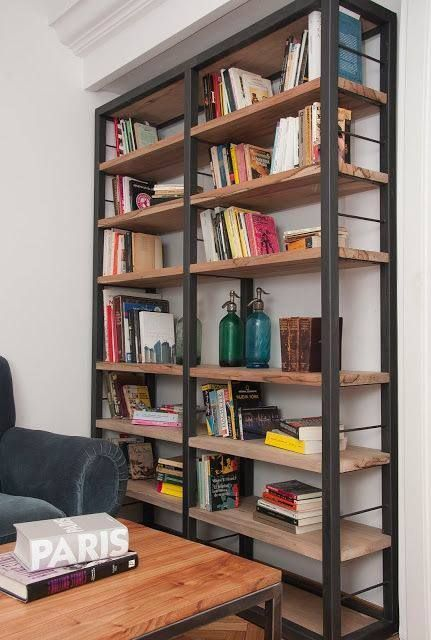 Metal And Wood Plank Industrial Modern Shelves Bookshelves Bookshelves Diy Bookcase Diy Bookshelf Design