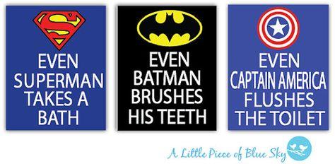 Superhero Bathroom Art Prints  Set of 3 by LittlePieceofBlueSky