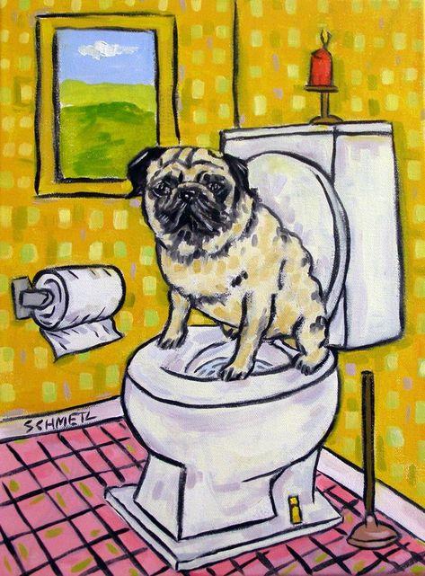 PUG ART PRINT Dog Pet Portrait Painting  Pop Folk Art 11x17 gloss JSCHMETZ
