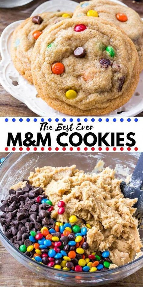 These M&M Cookies will soon become your new favorite. They're soft, chewy & packed with M&Ms for the perfect treat. Easy, no chill, & the absolute best M and M cookies around! #cookies #M&Mcookies #M&M #easy #kids #baking #brownycookies