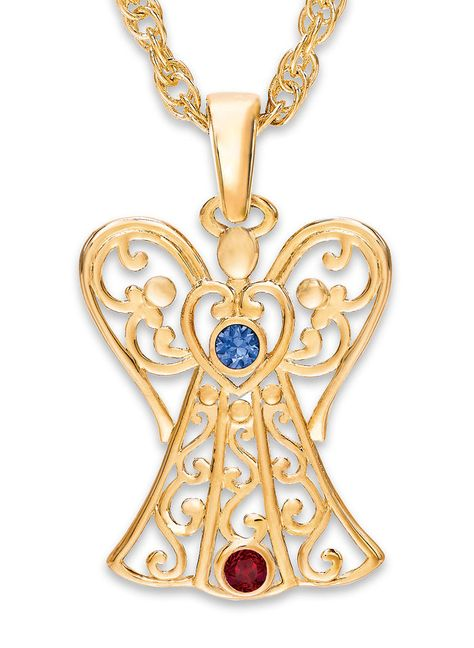 Angel Birthstone Necklace, Goldtone at http://www.AmeriMark.com. Keep your loved ones in your thoughts and prayers with this multiple birthstone angel necklace.#birthstonejewelry #birthstonenecklace #angelnecklace #amerimark #windsor