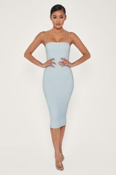 Jalia Shimmer Midi Dress Baby Blue In 2020 Dresses Midi Dress Baby Dress