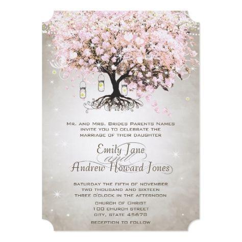 Mason Jar Pale Pink Heart Leaf Tree Wedding Card