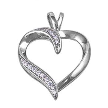 Pave Set Diamond Heart Pendant Necklace