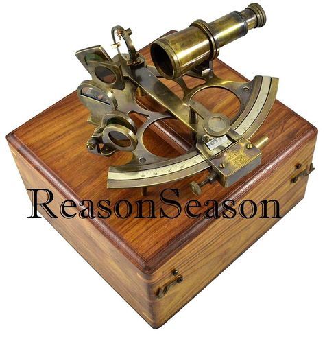 Vintage marine collectible brass working german nautical sextant with wooden box