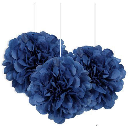 Tissue Paper Pom Poms, 9 in, Royal Blue, White Party Decorations, Sweet 16 Decorations, Quince Decorations, Royal Blue Wedding Decorations, Hanging Decorations, Royal Blue Centerpieces, Paper Pom Poms, Tissue Paper, Blue Birthday Parties