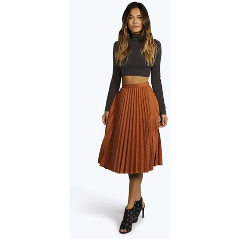 0fb85f951 Boohoo Fiona Faux Suede Pleated Midi Skirt ($20) ❤ liked on Polyvore  featuring skirts, rust, brown skirt, a line maxi skirt, boho skirt, pleated  a line ...