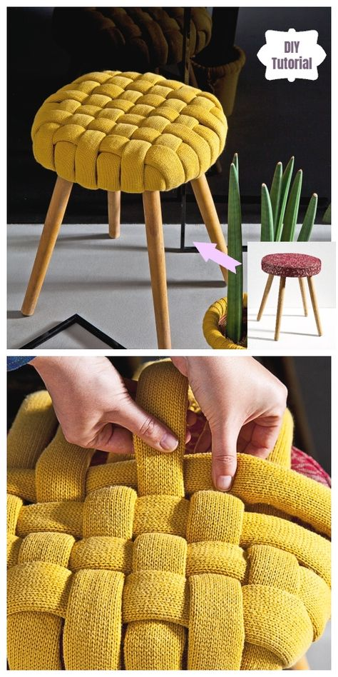 Recycled Sweater Woven Pouf Stool Cover Tutorial Recycled Sweater Woven Pouf Stool Cover Tutorial Fabric Handwoven - Cloud Medium Contemporary Brazilian Stool Rattan Stool By Tony Paul Barley Towels, Set of 6 Diy Home Crafts, Diy Crafts To Sell, Diy Crafts For Kids, Easy Crafts, Diy Furniture Decor, Diy Room Decor, Stool Covers, Decoration Palette, Diy Pouf