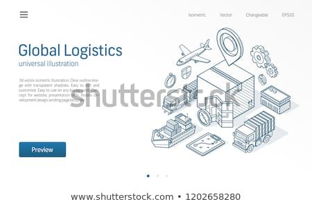 Global logistic service modern isometric line illustration