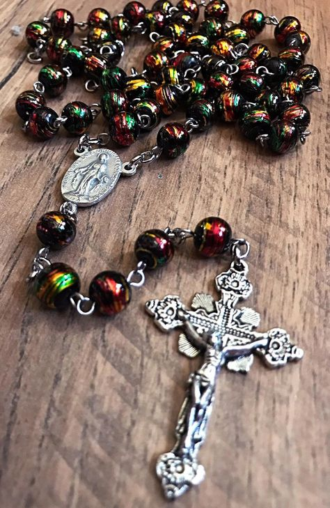 Women Lady Holy Long Rosary Crystal Beads Necklace Silver Drop Cross For Women