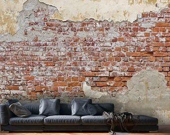Wallpaperpeel Stickbetonadhesive Vinylloft Wall Design Etsy Brick Wall Wallpaper Brick Wall Wallpaper