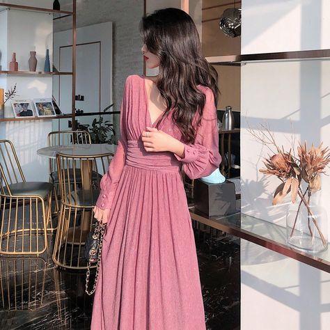 Solid Elegant Dress Women Autumn Sequin Party Midi Dress Female Casual Chiffon Slim Korean Dress 2020 Autumn Women's Clothing - Pink dress / L
