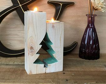 Weihnachtsbaum Rustikale Kerze Halter Adventskalender Kerze