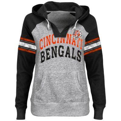 Cincinnati Bengals Ladies Huddle III Pullover Hoodie - Ash/Black