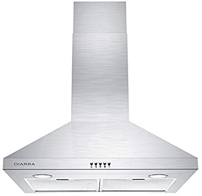Amazon Com Ciarra Cas75206p 450 Cfm Wall Mount Range Hood 30 Inch Stainless Steel Stove Vent Hood With 3 Speed Exhaust F Stove Vent Hood Stove Vent Range Hood