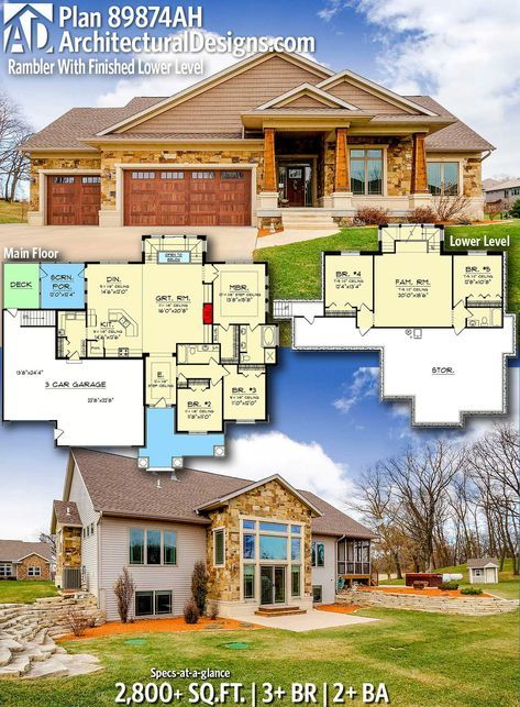 Plan 89874ah Rambler With Finished Lower Level Dream House Plans Home Design Floor Plans New House Plans