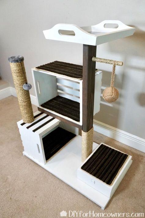 Apple crates as DIY Cat Tower--genius