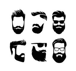 Set Bearded Men Faces Hipsters With Haircuts Desenhos Para