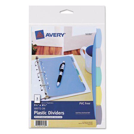 Avery Mini Durable Write Erase Plastic Dividers 5 1 2 X 8 1 2 5 Tab Walmart Com Mini Binder Binder Dividers Business Card Organizer