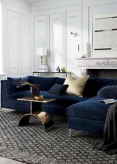 Decker 2 Piece Navy Blue Velvet Sectional Sofa Reviews Cb2 Rugs In Living Room Living Room Colors Living Room Modern