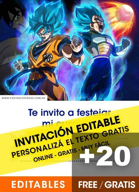 20 Invitaciones De Dragon Ball Super Broli Gratis Free