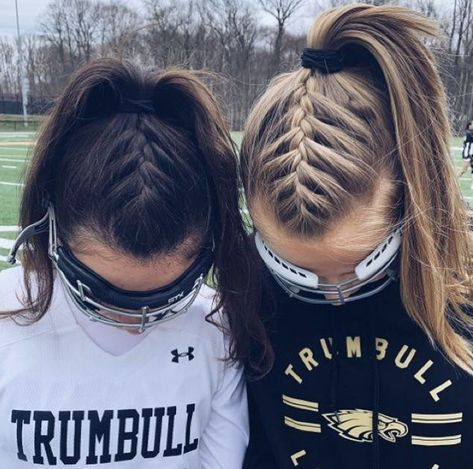 vsco # braids Soft, shiny, silky and well-groomed hair is our dream. # Braids for sports lacrosse vsco 4 Braids Hairstyle, Braids For Long Hair, Braided Ponytail Hairstyles, Hairstyle Short, Braid In Ponytail, Black Braids, Cute Volleyball Hairstyles, Cute Hairstyles, Halloween Hairstyles